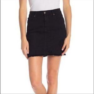 Good American Black Denim Distressed Skirt SZ 14